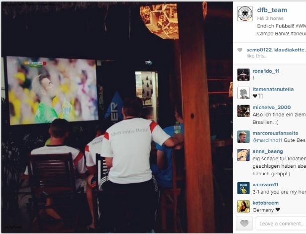 No resort em Santa Cruz Cabrália, a seleção da Alemanha acompanhou Brasil x Croácia