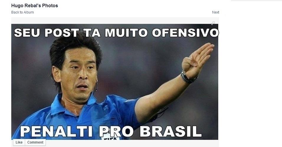 Depois do lance polêmico para o Brasil na estreia da Copa, até postagens viraram motivo para pedir pênalti.
