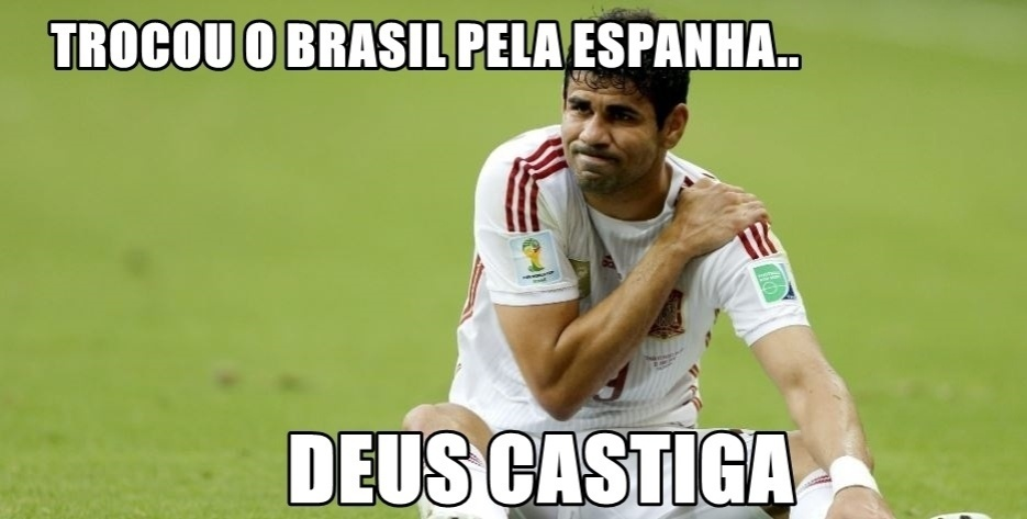 Diego Costa não foi perdoado por trocar o Brasil pela Espanha.