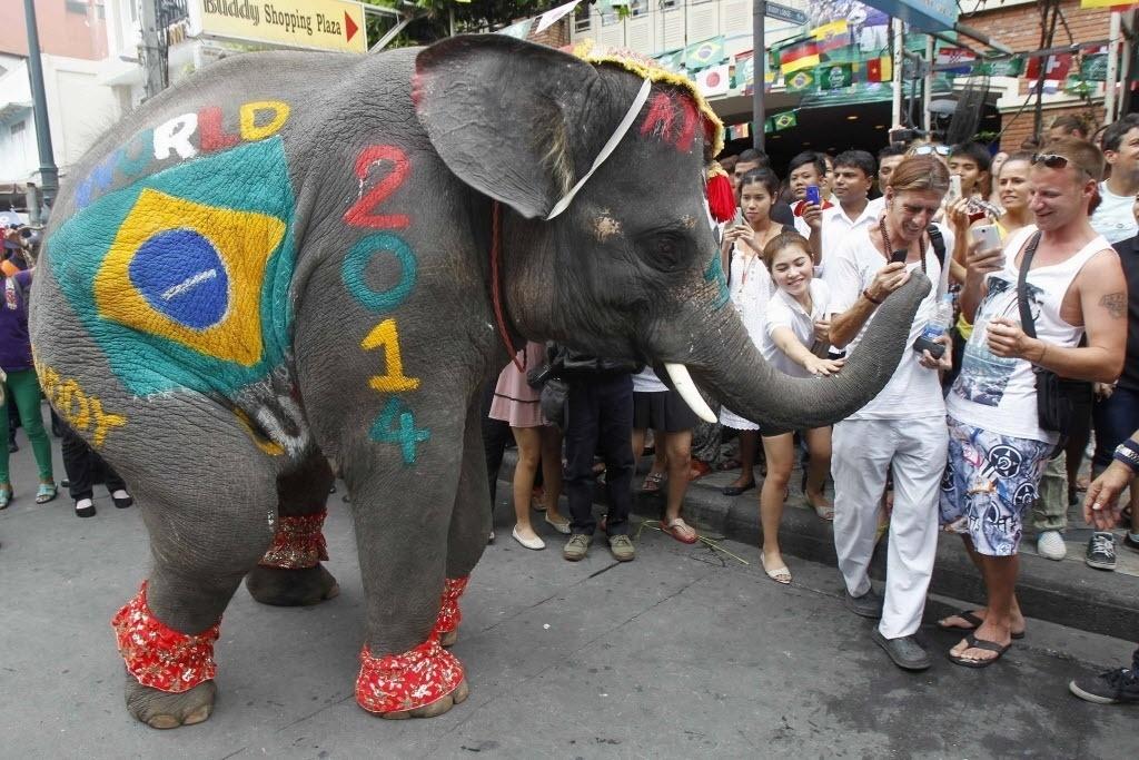 Elefante 'brasileiro' participa de evento sobre a Copa do Mundo em Bangcoc