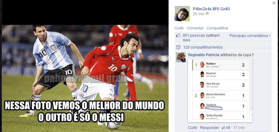 Já tem até internauta comparando Valdivia com Messi.