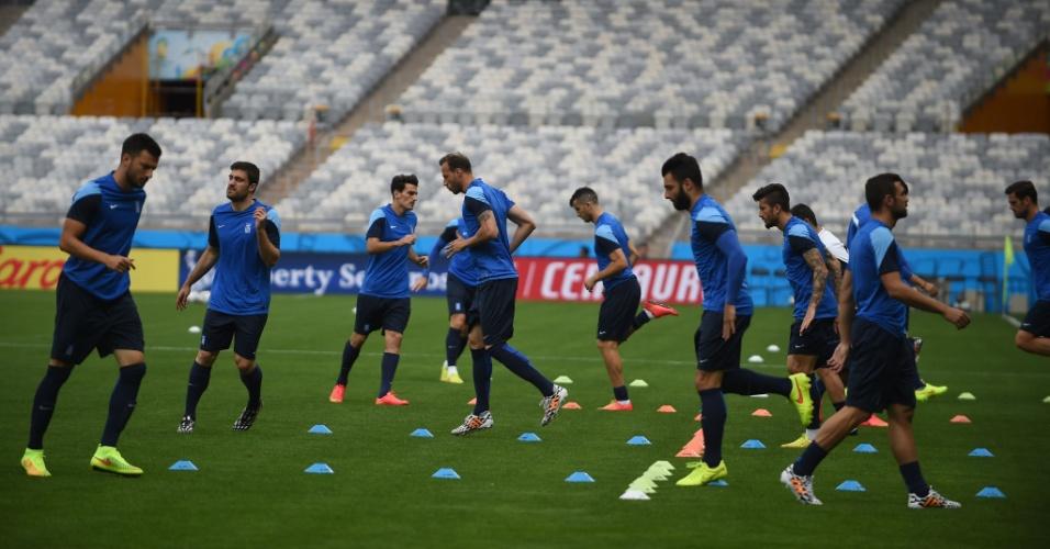 Jogadores da Grécia realizam treino no estádio do Mineirão, em Belo Horizonte