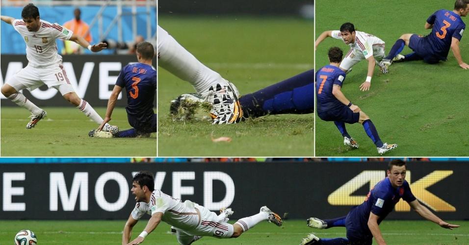 Quatro ângulos do pênalti sofrido por Diego Costa na goleada da Holanda sobre a Espanha