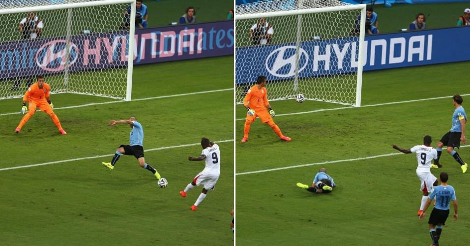 Campbell acerta um chute forte e seco, de esquerda, para superar o goleiro uruguaio Muslera e empatar o jogo para a Costa Rica