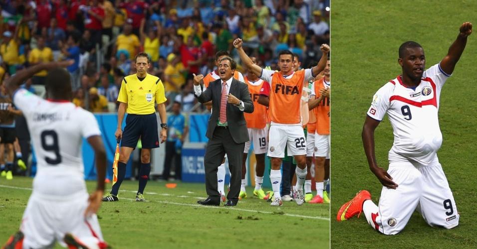 Campbell festeja o gol de empate da Costa Rica contra o Uruguai