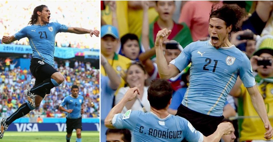 Cavani comemora o gol de pênalti, o único do Uruguai na derrota para a Costa Rica