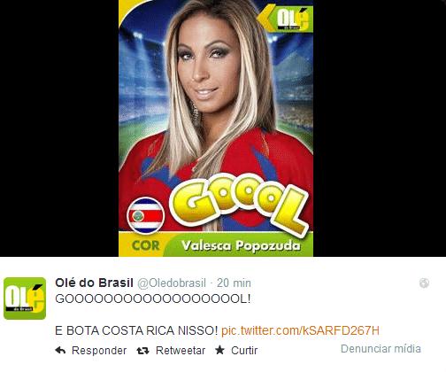 Criaram até a Valesca Popozuda fazendo gol pela Costa Rica