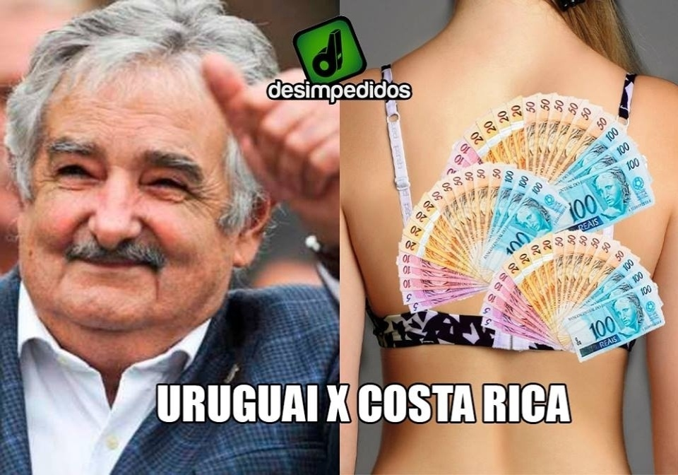 """De um lado o presidente uruguaio José Mujica, do outro a """"Costa Rica"""""""