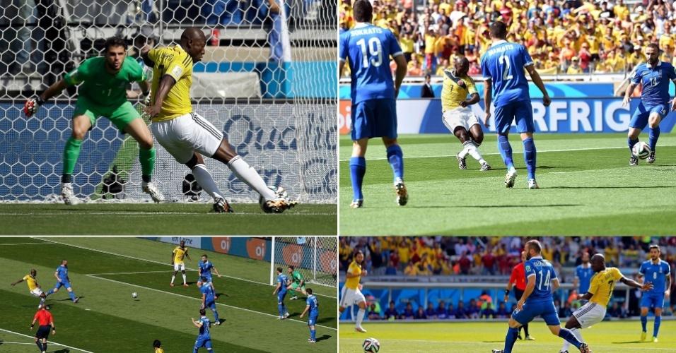 Diferentes ângulos mostram o chute de Armero, que abriu o placar para a Colômbia logo aos 5 min do primeiro tempo