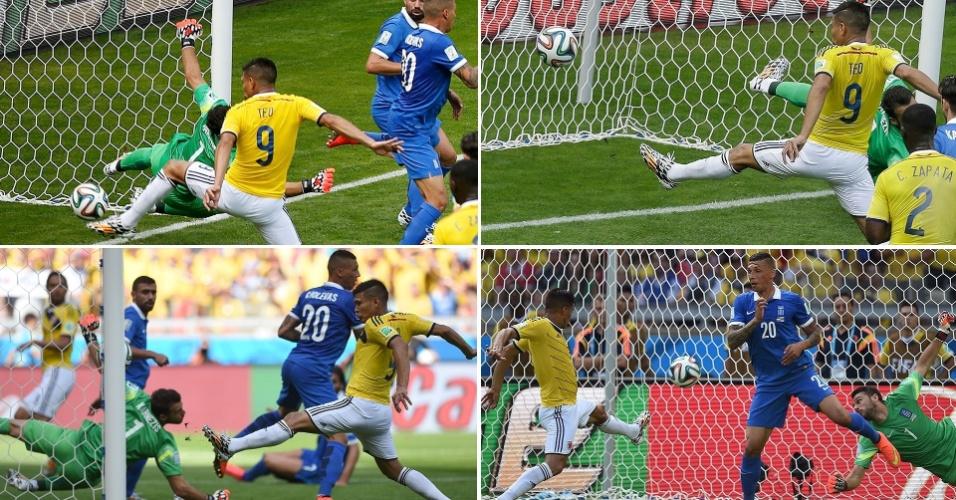Diferentes ângulos mostram o momento em que o atacante Gutierrez marcou o segundo gol da Colômbia, em Belo Horizonte