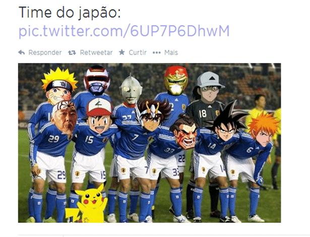 Foto oficial da seleção do Japão antes do jogo contra a Costa do Marfim