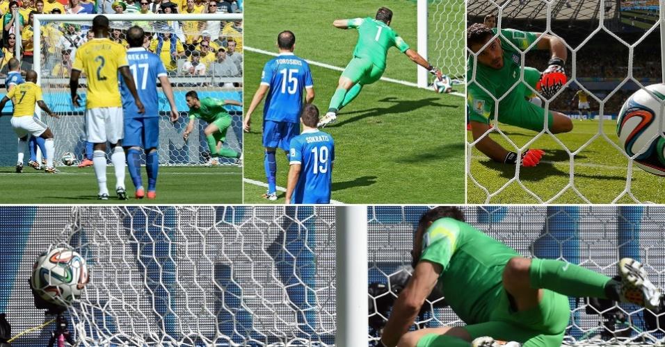 Goleiro Karnezis pula com atraso e não consegue evitar o primeiro gol da Colômbia
