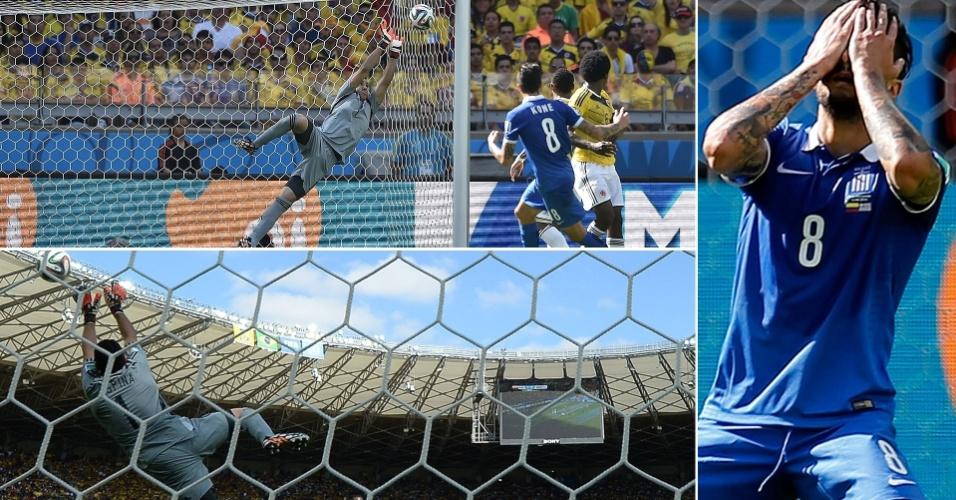 Grego Kone chuta bem, perto do ângulo, para bela defesa do goleiro colombiano Ospina