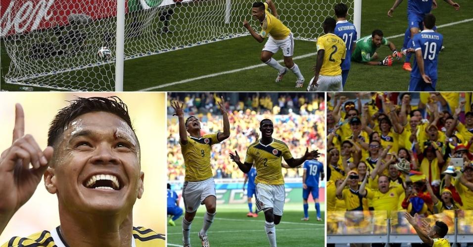 Imagens mostram a alegria do colombiano Gutierrez após marcar o segundo gol contra a Grécia, no início do segundo tempo