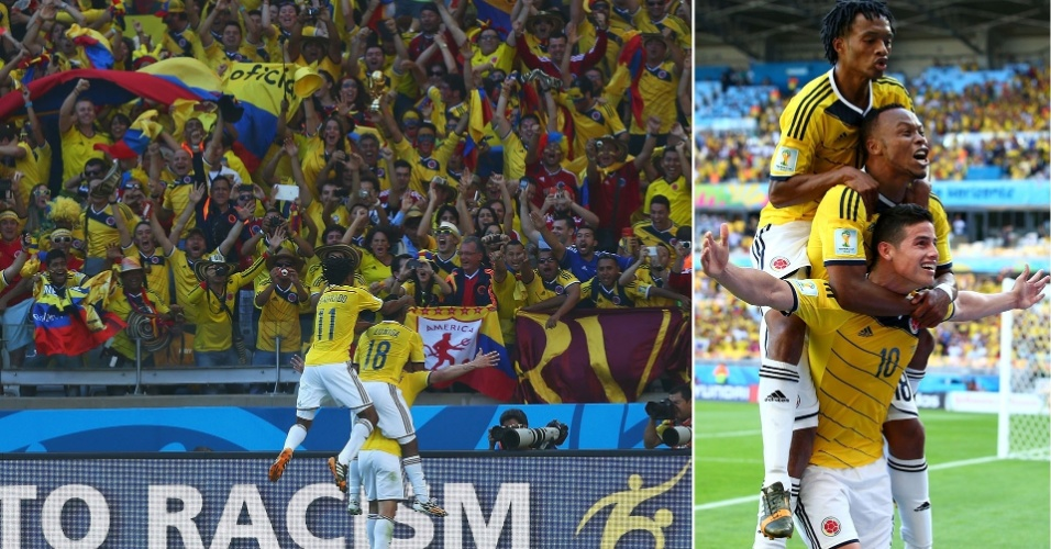 James Rodriguez (abaixo) é abraçado por Cuadrado e Zuñiga após marcar o 3º gol da Colômbia contra a Grécia