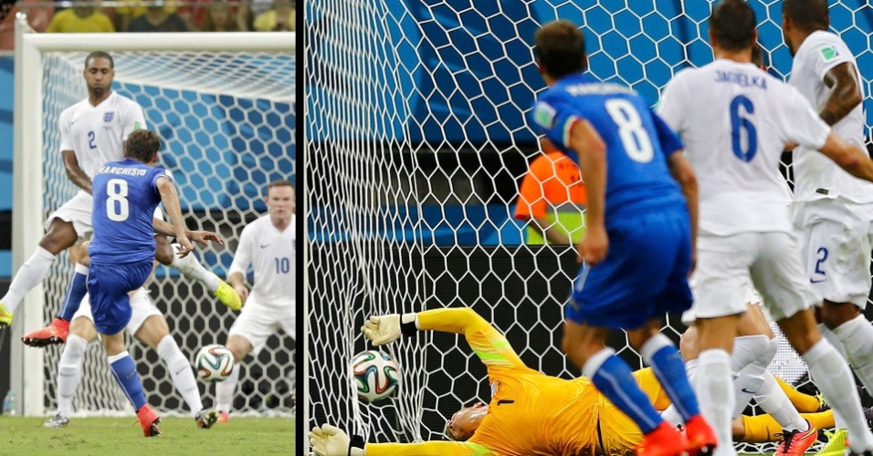 Marchisio chuta de fora da área para marcar o primeiro gol italiano