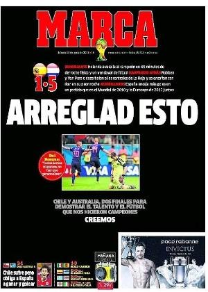"""O jornal Marca pediu para que a seleção espanhol """"conserte isso"""" após a derrota por 5 a 1 para a Holanda"""