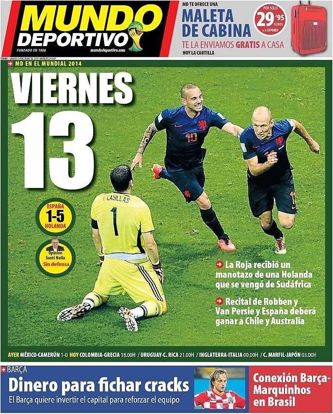 O Mundo Deportivo brincou com o fato de a goleada ter sofrida em uma sexta-feira 13