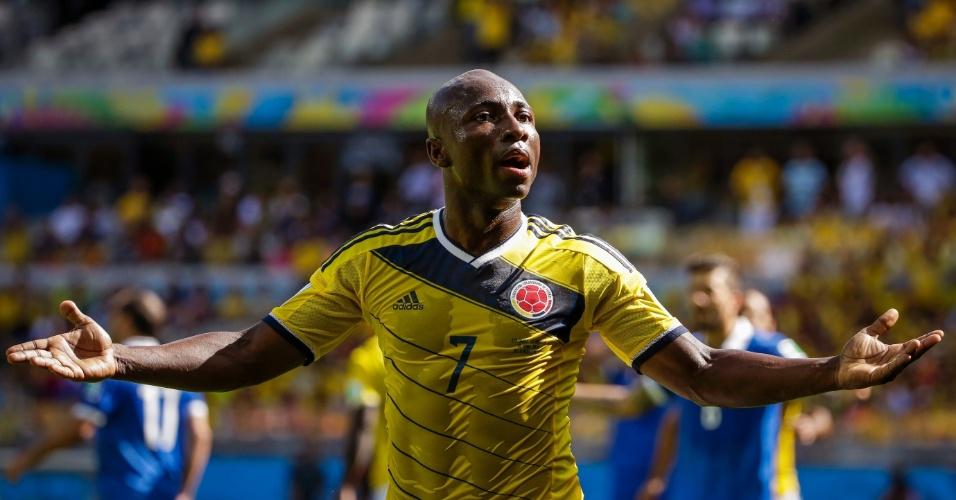 Pablo Armero comemora gol marcado pela Colômbia contra a Grécia, na estreia da seleção na Copa