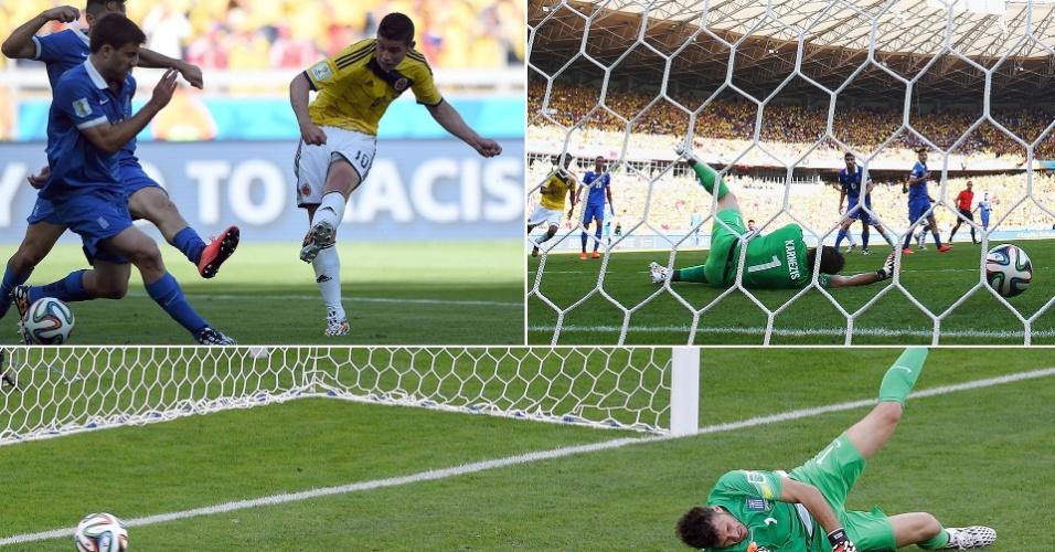 Rodríguez finaliza para marcar o terceiro gol da Colômbia contra a Grécia