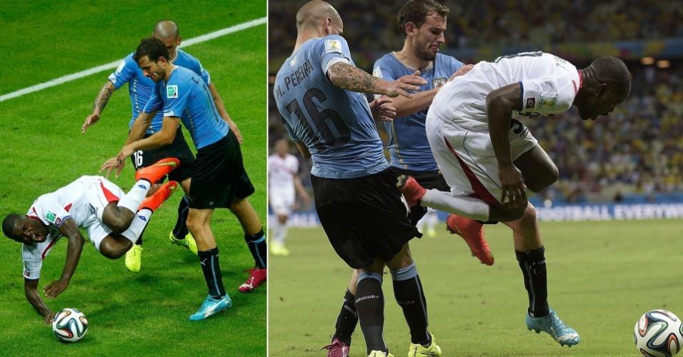 Uruguaio Max Pereira chuta costarriquenho e recebe o primeiro cartão vermelho da Copa