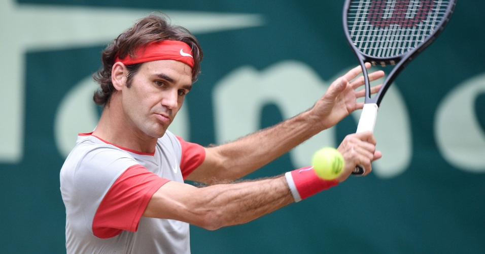 15.06.14 - Roger Federer durante a final do ATP de Halle