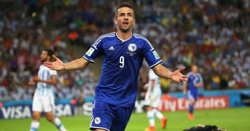Depois de marcar contra a Argentina, Ibisevic comemora o primeiro gol da Bósnia em Copas do Mundo