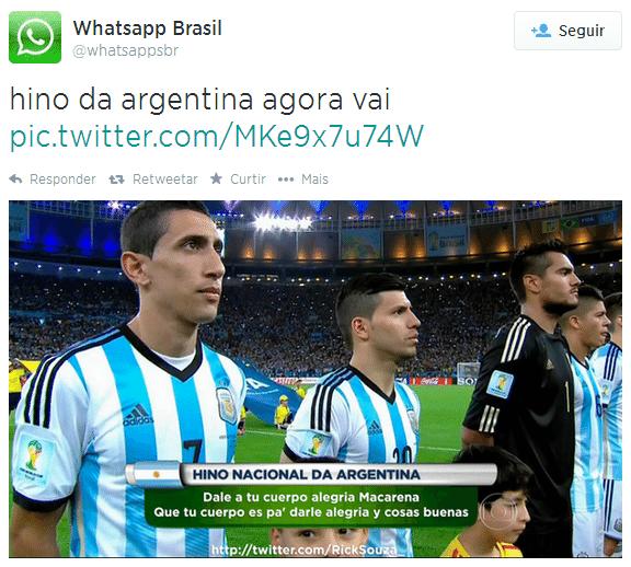 Hino da Argentina foi motivo de piadas para os torcedores