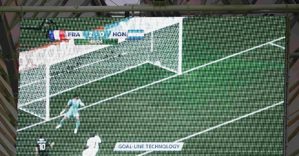 Telão do Beira-Rio mostra o uso da tecnologia para verificar se o gol da França contra Honduras foi válido
