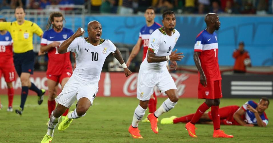 16.jun.2014 - Andre Ayew iniciou a reação de Gana aos 36min do segundo tempo, mas cinco minutos depois os EUA fizeram o gol da vitória