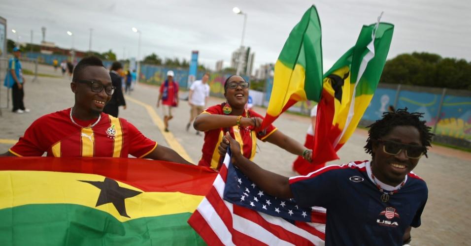 16.jun.2014 - Arena das Dunas começa a receber torcedores de Gana e EUA para a partida da Copa do Mundo