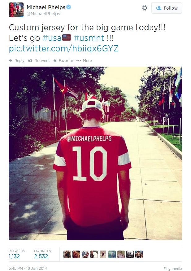 Michael Phelps publica foto manifestando apoio à seleção dos Estados Unidos antes da estreia contra Gana