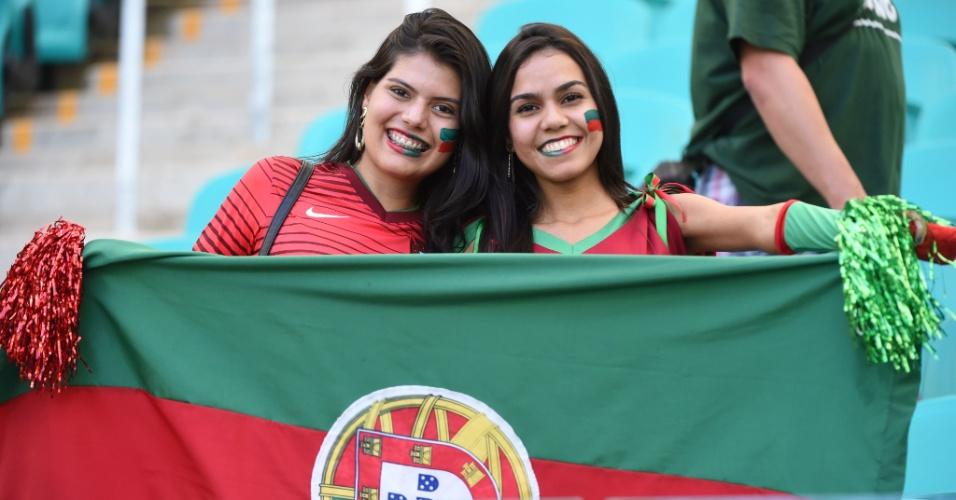 Portuguesas já estão a postos na Arena Fonte nova para apoiar a seleção contra a Alemanha