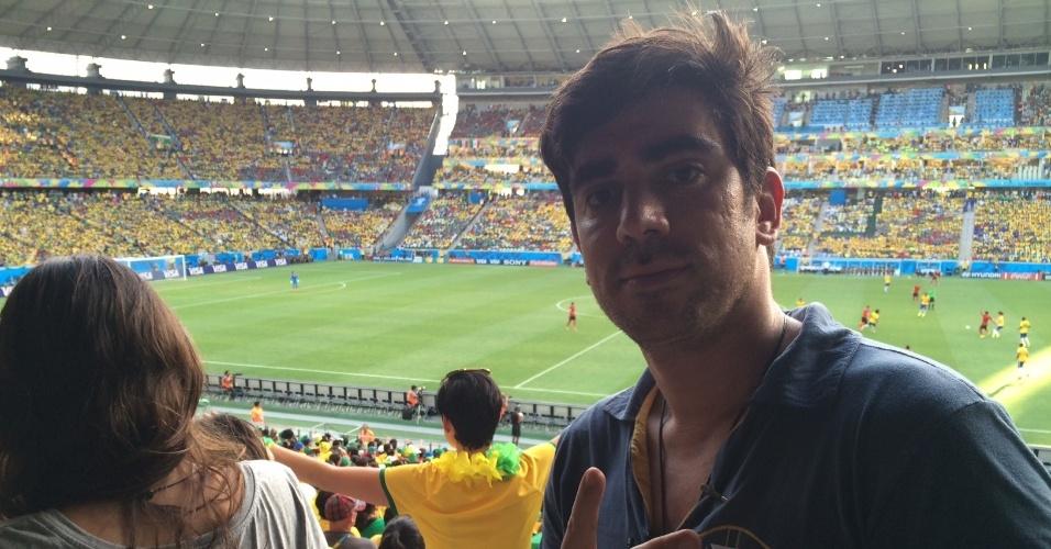14.jun.2014 - Marcelo Adnet assistiu ao jogo entre Brasil e México em Fortaleza