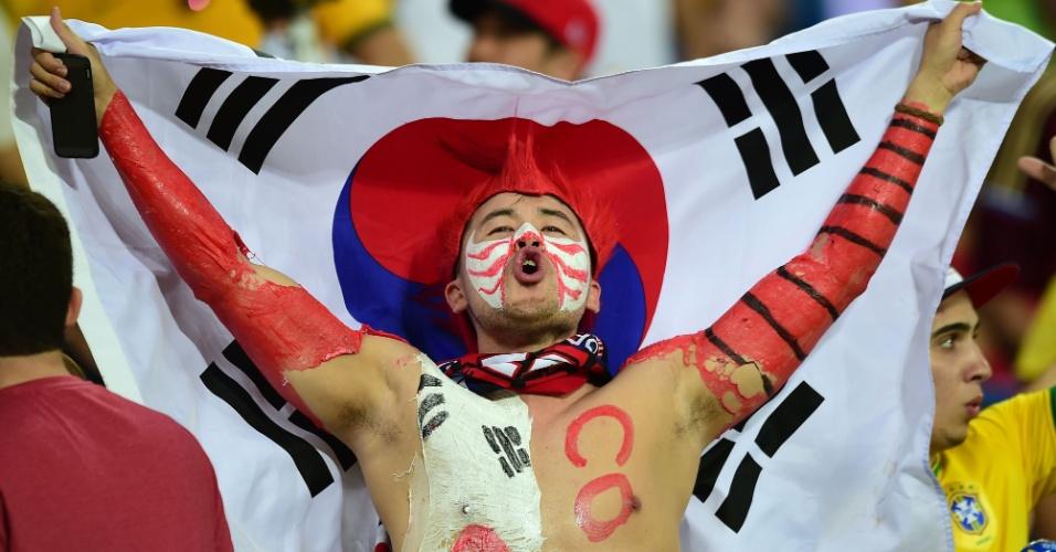 17.jun.2014 - O torcedor coreano precisou de muita tinta para montar sua fantasia e dar apoio à sua seleção