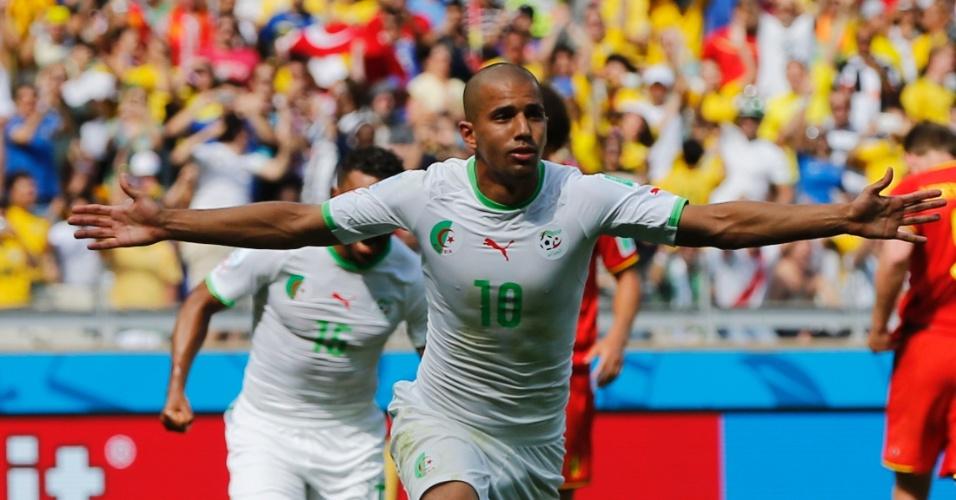 Feghouli  comemora gol de pênalti contra a Bélgica, pelo grupo H da Copa do Mundo