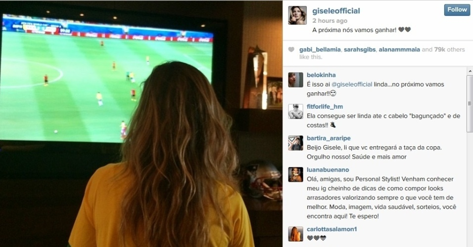 """Gisele Bündchen acompanha partida do Brasil pela televisão e mantém otimismo: """"a próxima a gente ganha"""""""
