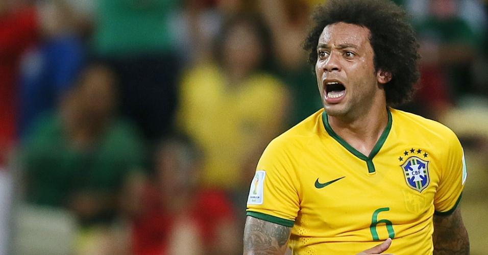 Marcelo lamenta desfecho de jogada na partida entre Brasil e México, que terminou 0 a 0