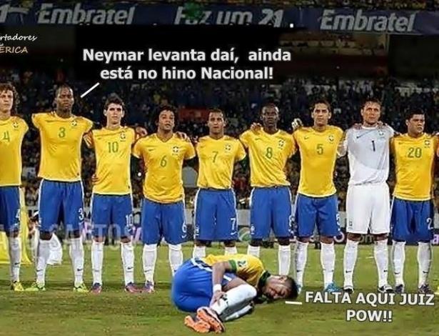Neymar caiu muitas vezes na partida contra o México