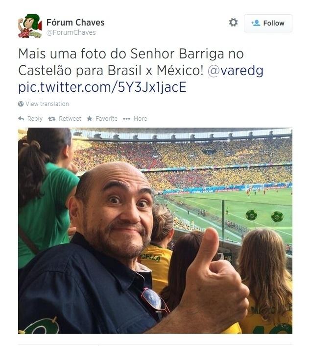 O ator Édgar Vivar, conhecido como Seu Barriga, foi acompanhar seu México contra o Brasil no Castelão
