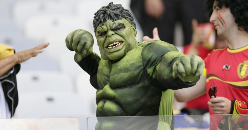 O incrível Hulk está no Mineirão para apoiar a Bélgica, contra a Argélia, pelo Grupo H da Copa do Mundo