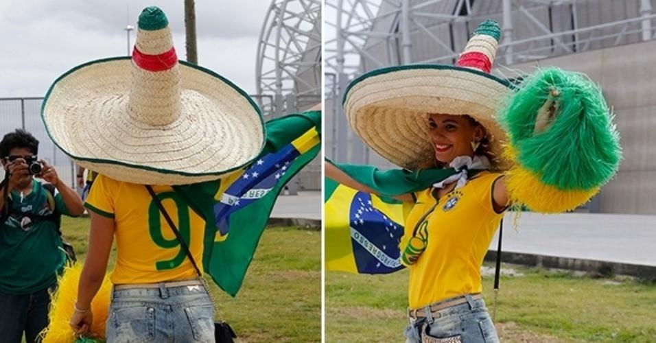 Vira-casaca de quem? Torcedora vai de camiseta do Brasil e veste chapéu mexicano ao Castelão para ver o duelo das seleções