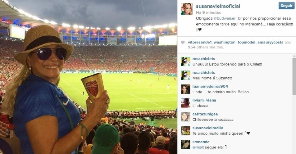 18.06.2014 - Atriz Suzana Vieira foi com a camisa do Brasil para acompanhar o jogo entre Espanha x Chile