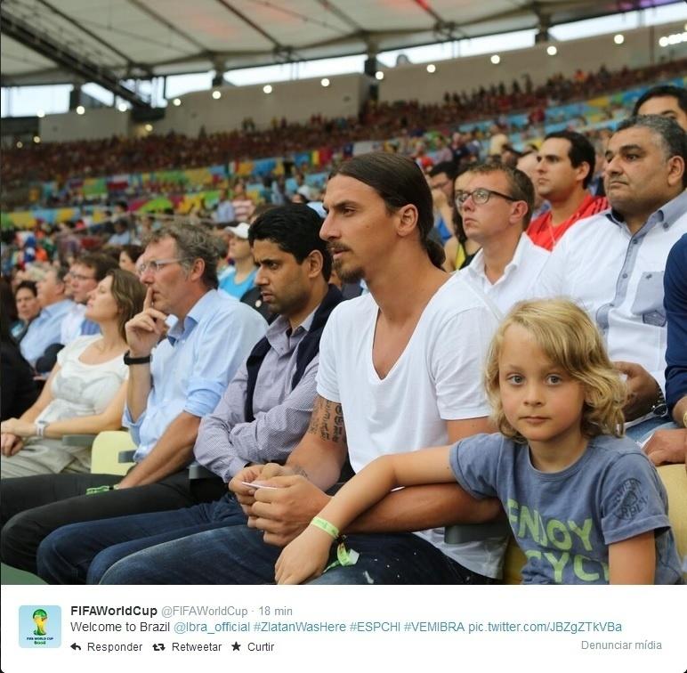 18.jun.2014 - Ibrahimovic veio para a Copa e assistiu ao jogo entre Espanha e Chile, com seu filho, no Maracanã