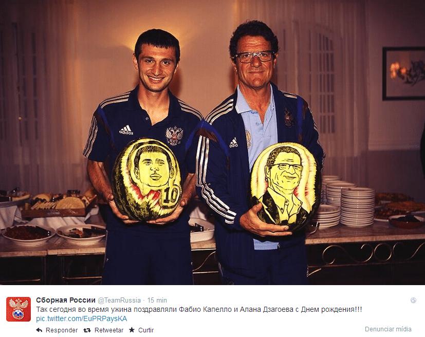 Alan Dzagoev e Fabio Capello receberam presentes curiosos: melancias personalizadas