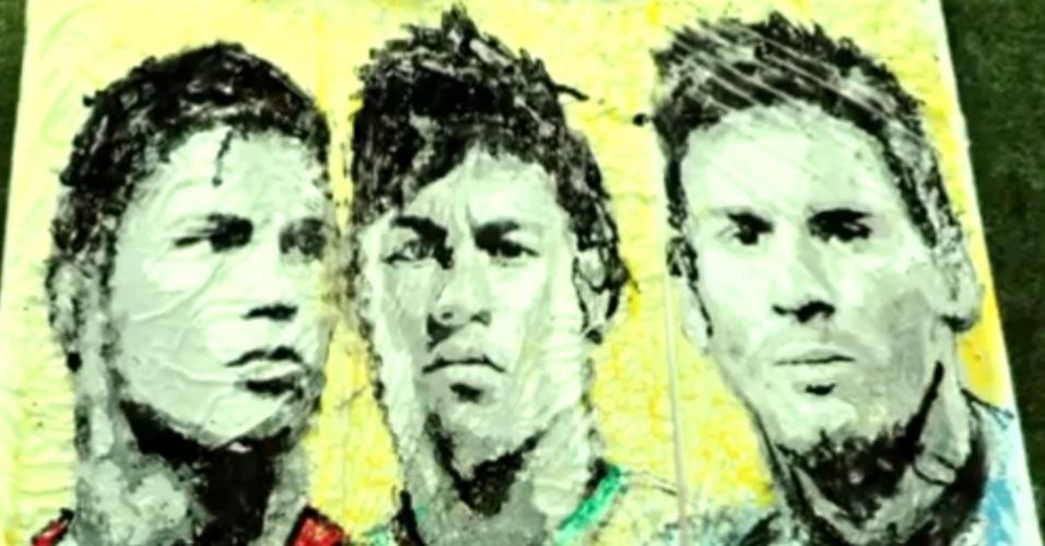 Artista malaia faz obra de arte de Neymar, Messi e Cristiano Ronaldo com bola de futebol