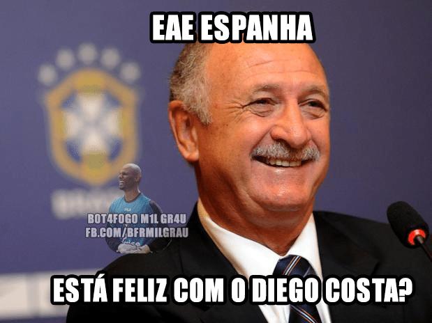 Até Felipão está rindo da Espanha de Diego Costa