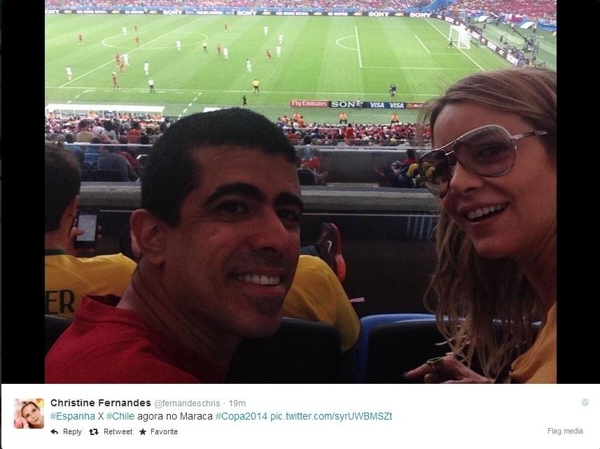 Atriz Christine Fernandes e humorista Marcius Melhem acompanham duelo entre Espanha e Chile no Maracanã