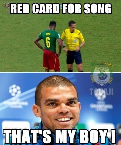 """""""Cartão vermelho para Song? Este é o meu garoto"""", diz Pepe"""