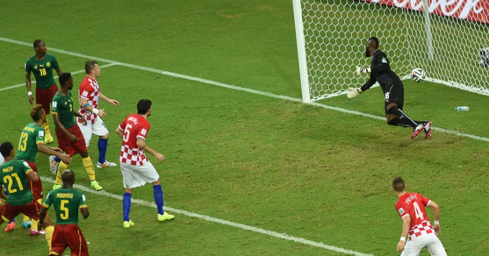Croatas e camaroneses observam a bola entrar no gol defendido por Charles Itandje